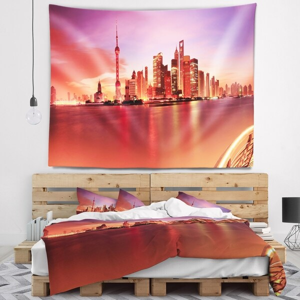 Designart 'Shanghai Skyline at Dawn Panorama' Cityscape Wall Tapestry