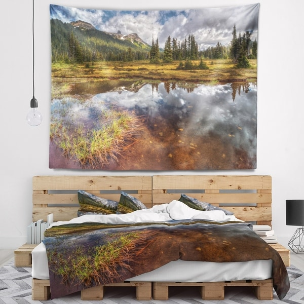 Designart 'Shallow Lake under Cloudy Sky' Landscape Wall Tapestry
