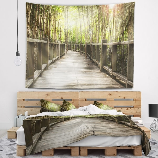 Designart 'Wooden Bridge in Forest' Landscape Photography Wall Tapestry