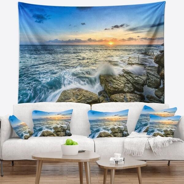 Designart 'Rocky Coogee Beach in Sydney' Seashore Wall Tapestry