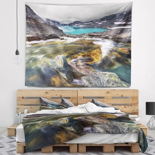 Designart 'Mountain Creek Flowing into Lake' Landscape Wall Tapestry (4 options available)
