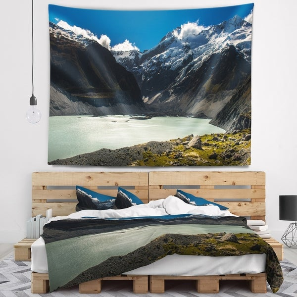 Designart 'Frosty Mountains Over Blue Lake' Landscape Wall Tapestry