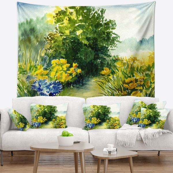 Designart 'Watercolor Greenery' Landscape Wall Tapestry