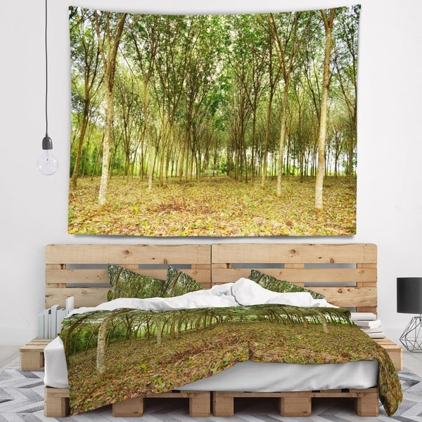 Designart 'Rubber Tree Plantation during Midday' Landscape Wall Tapestry
