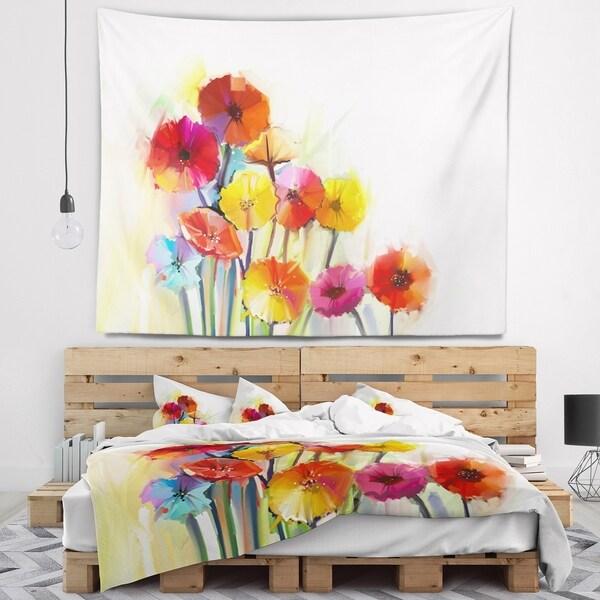 Designart 'Colorful Gerbera Flowers Watercolor' Floral Wall Tapestry