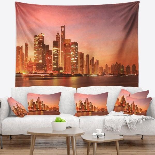 Designart 'Shanghai Skyline at Dawn' Cityscape Photo Wall Tapestry