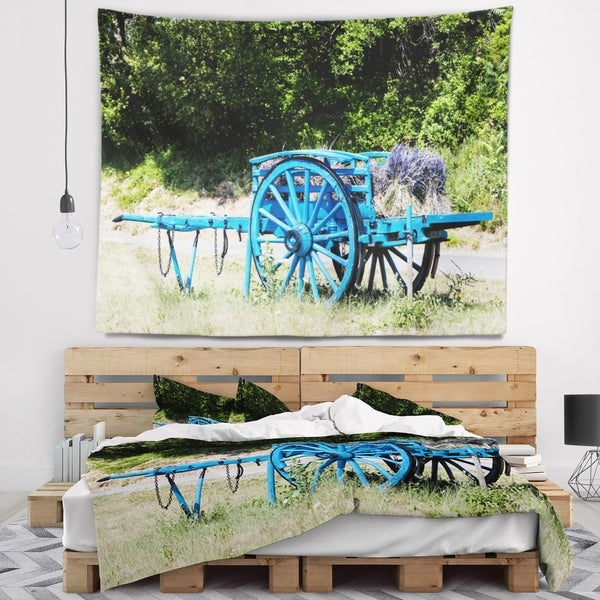 Designart 'Cart with Lavender in France' Landscape Wall Tapestry