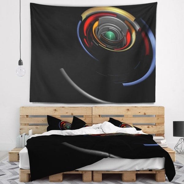 Designart 'Fractal 3D Circled Stripes' Contemporary Wall Tapestry