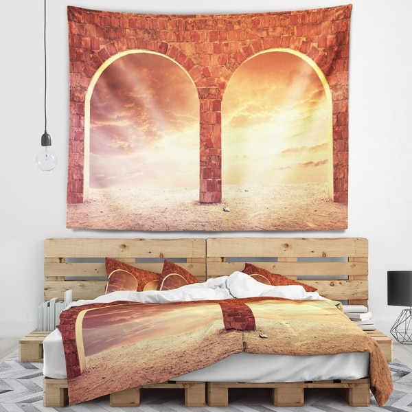 Designart 'Fantasy Background with two Arches' Landscape Wall Tapestry