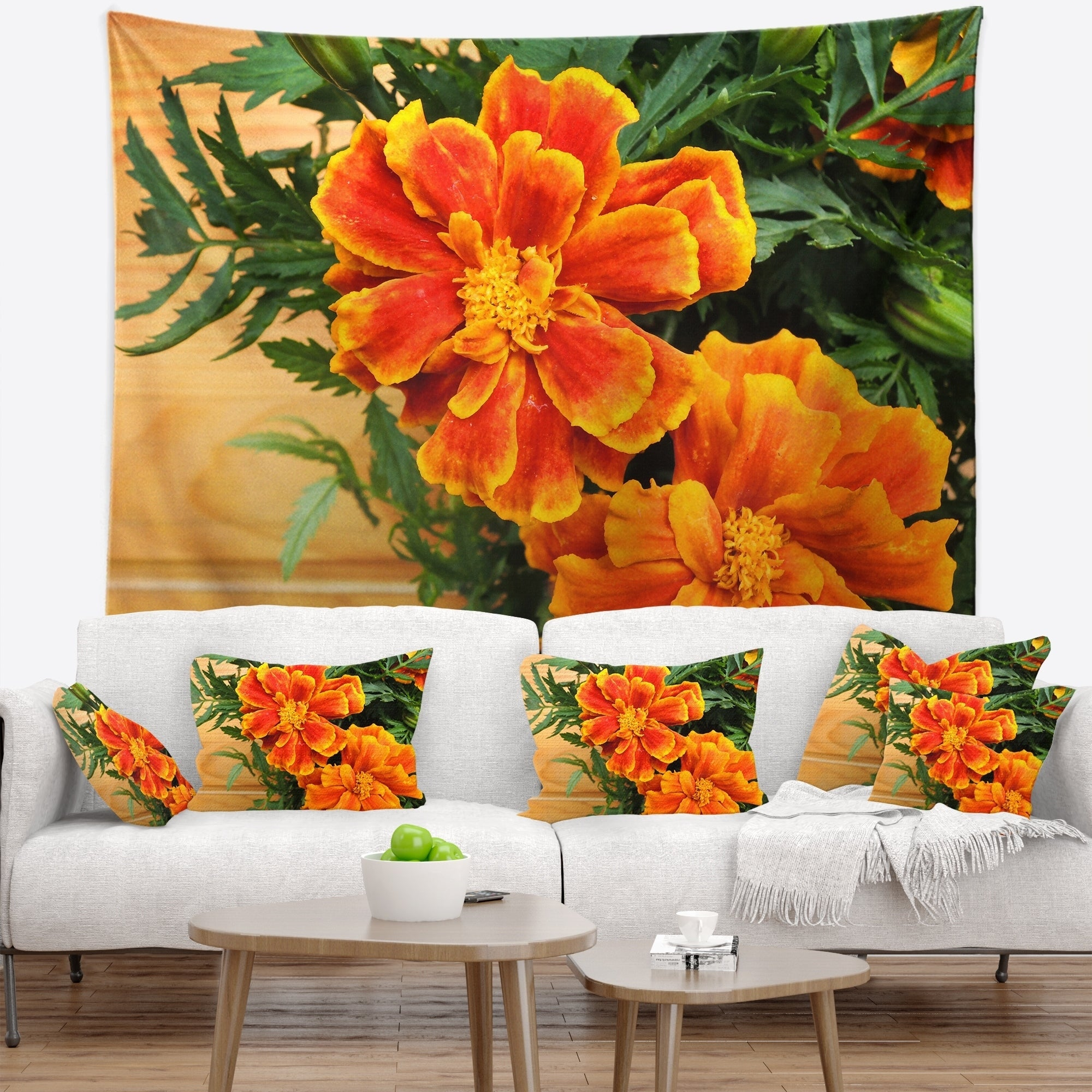 Designart Marigold Flower On Wooden Background Floral Wall Tapestry Overstock 20928889