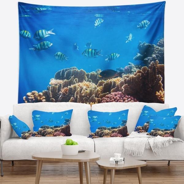 Designart 'Bright Blue Waters and Coral Fish' Seashore Wall Tapestry