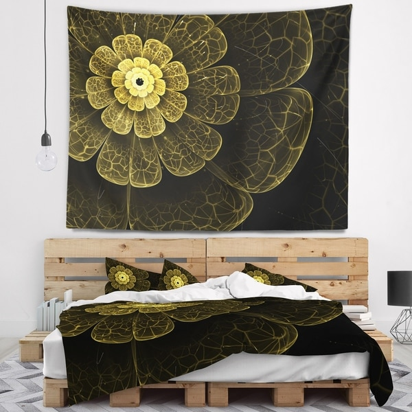 Designart 'Light Yellow Metallic Fabric Flower' Abstract Wall Tapestry