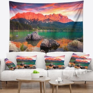 Designart 'Colorful Eibsee Lake Sunset' Landscape Photo Wall Tapestry (4 options available)