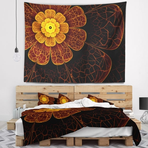 Designart 'Symmetrical Orange Fractal Flower' Floral Wall Tapestry