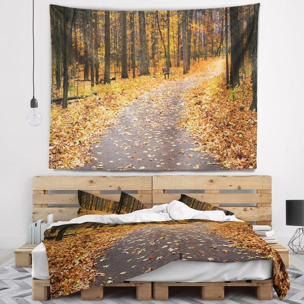 Designart 'Autumn Walk Way with Fallen Leaves' Modern Forest Wall Tapestry