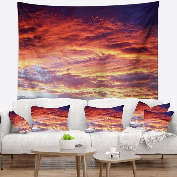 Designart 'Colorful Sunset Skies with Clouds' Landscape Wall Tapestry