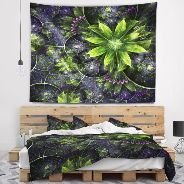 Designart 'Glossy Green Purple Fractal Flowers' Floral Wall Tapestry