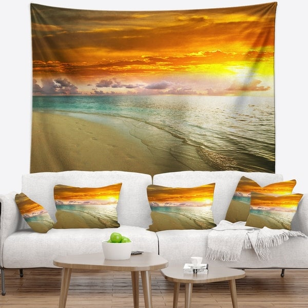 Designart 'Amazingly Colorful Beach with Footprints' Seascape Wall Tapestry