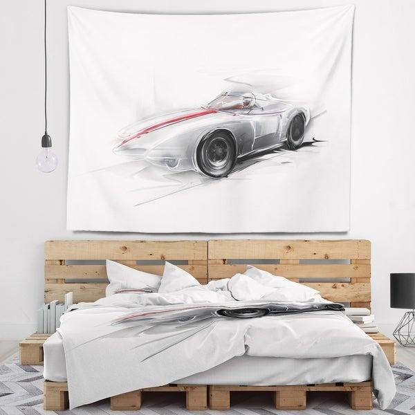 Designart 'Silver Formula One Car' Digital Art Car Wall Tapestry
