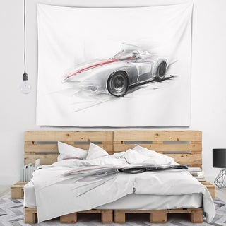Designart 'Silver Formula One Car' Digital Art Car Wall Tapestry