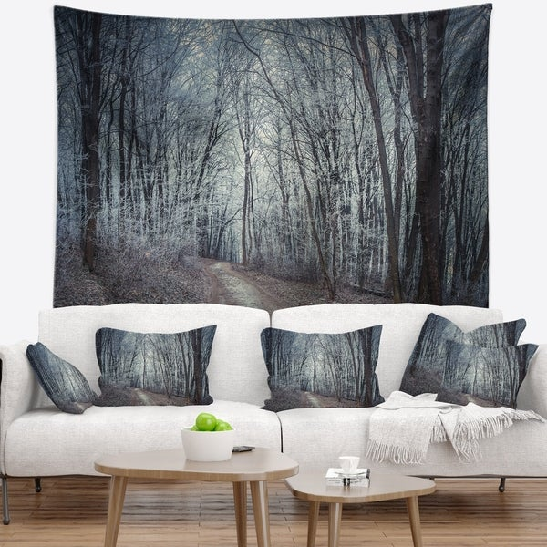 Designart 'Dense Gray Fall Forest Path' Landscape Photo Wall Tapestry