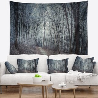 Designart 'Dense Gray Fall Forest Path' Landscape Photo Wall Tapestry (4 options available)