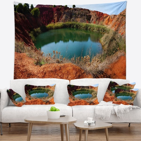 Designart 'Bauxite Mine with Lake' Landscape Photo Wall Tapestry