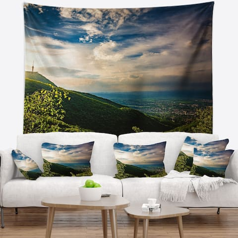 Designart 'Vitosha Mountain over Sofia Bulgaria' Landscape Wall Tapestry