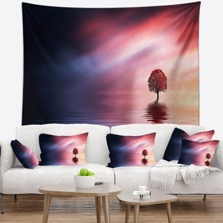 Designart 'Astonishing Lonely Tree with Birds' Landscape Wall Tapestry