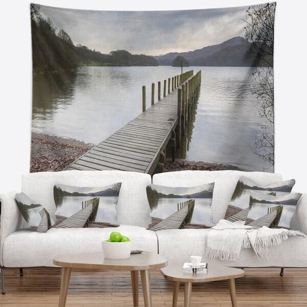 Designart 'Wooden Jetty on Lake District' Wooden Sea Bridge Wall Tapestry