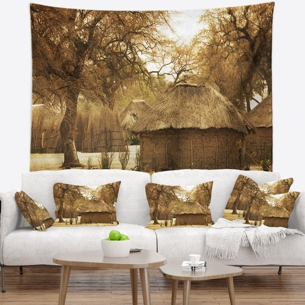 Designart 'Beautiful Rural African Huts' Landscape Wall Tapestry