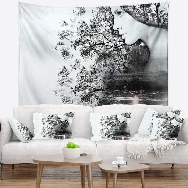 Designart 'Woman and Beauty of Nature' Landscape Wall Tapestry