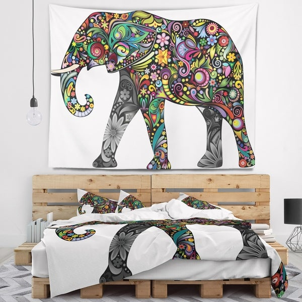 Designart 'Floral Cheerful Elephant' Animal Wall Tapestry