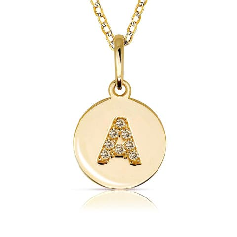 Curata Solid 14k Small Yellow Gold Cubic Zirconia Initial Monogram Disc Circle Pendant Necklace (10mm) - Orange