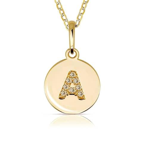 Curata Solid 14k Small Yellow Gold Cubic Zirconia Initial Monogram Disc Circle Pendant Necklace (10mm) - Orange