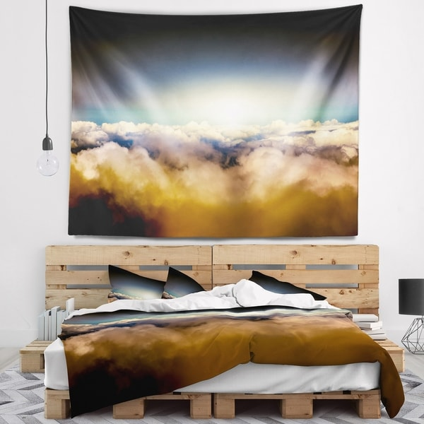 Designart 'Gloomy Sky above Clouds' Contemporary Landscape Wall Tapestry