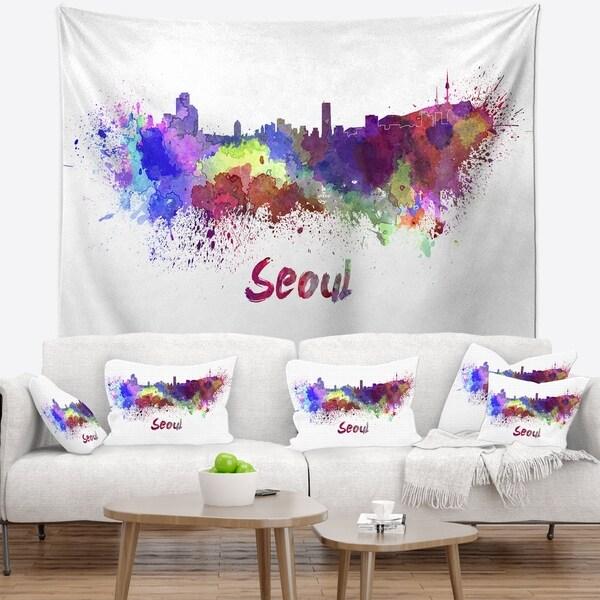 Designart 'Seoul Skyline' Cityscape Wall Tapestry