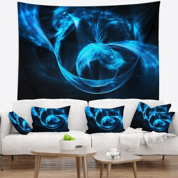 Designart 'Fractal 3D Circled Blue Waves' Contemporary Wall Tapestry