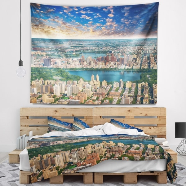 Designart 'Aerial View of Central Park' Landscape Photography Wall Tapestry