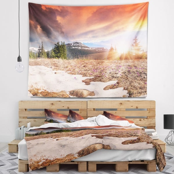 Designart 'Blooming Crocuses in Mountains' Landscape Photography Wall Tapestry