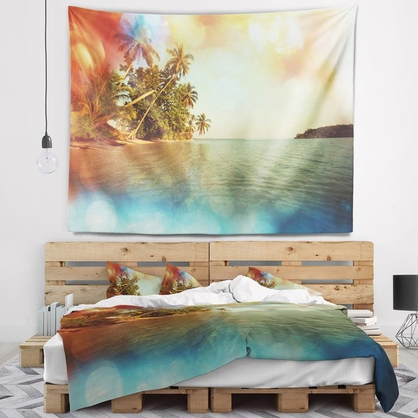 Designart 'Serene Tropical Beach with Palms' Seashore Wall Tapestry