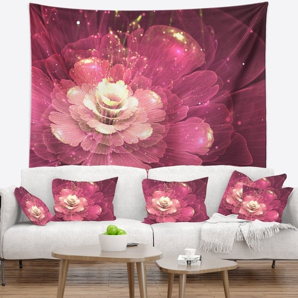 Designart 'Abstract Fractal Purple Flower' Floral Wall Tapestry