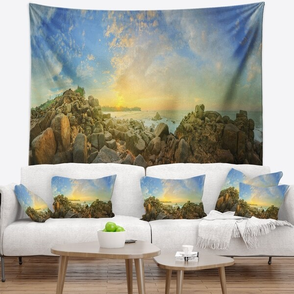 Designart 'Sri Lanka Romantic Beach Panorama' Seascape Wall Tapestry