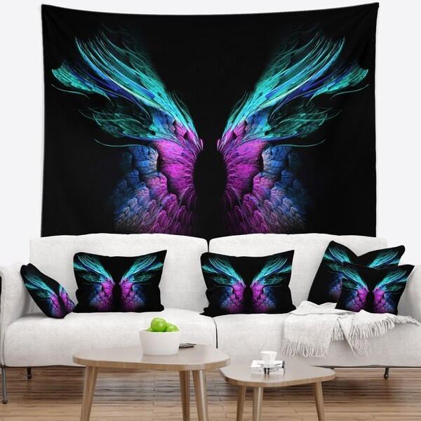 Designart 'Blue Butterfly Wings' Floral Wall Tapestry