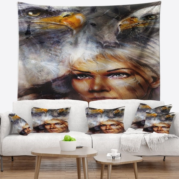 Designart 'Woman with Flying Eagles' Portrait Wall Tapestry