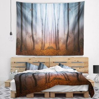 Designart 'Dense Foggy Autumn Forest' Landscape Photo Wall Tapestry (4 options available)