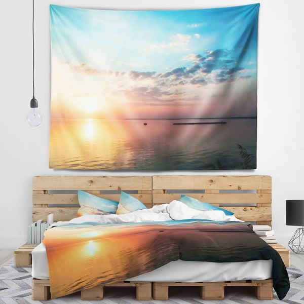 Designart 'Dramatic Sunset Cloudy Sky' Oversized Beach Wall Tapestry