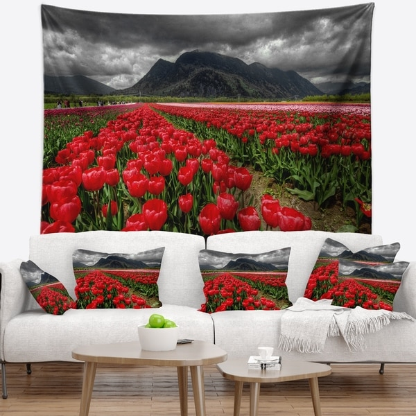 Designart 'Rows of Bright Ruby Red Tulips' Landscape Wall Tapestry