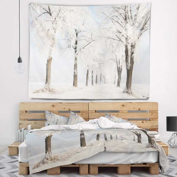 Designart 'Winter Lane on Sunny Morning' Forest Wall Tapestry