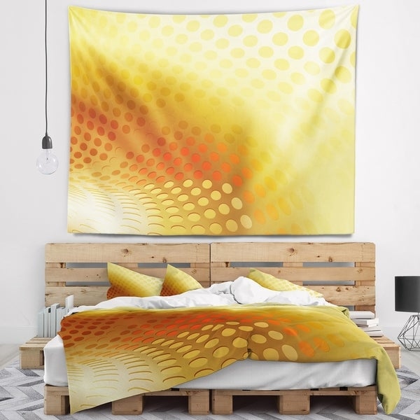 Designart 'Golden Fractal Abstract Pattern' Abstract Wall Tapestry